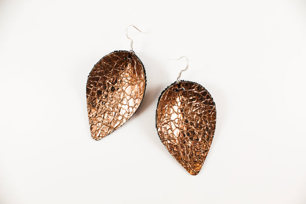 Crackle Rose Gold Pinched Petal Earrings