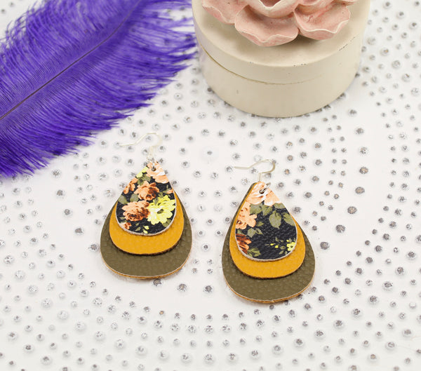 Peach/Black Floral, Mustard, & Olive Layered Teardrop