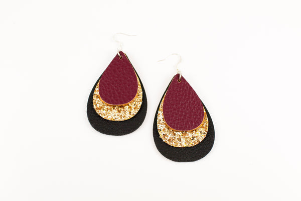 Maroon, Gold Glitter & Black Teardrop Earrings