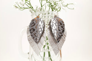 Silver & Metallic Leopard Fringe Feather Earrings