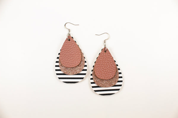 Rose, Champagne & Stripes Teardrop Earrings