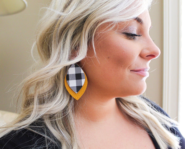 Buffalo Plaid over Mustard Oval Leaf