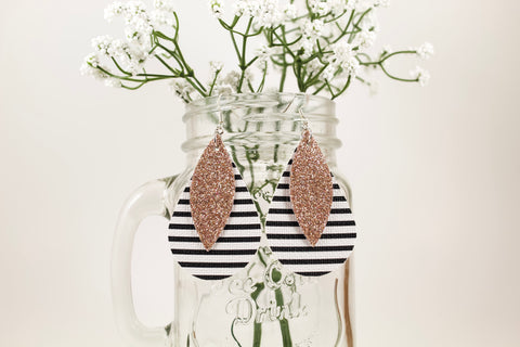 Stripes & Champagne Shimmer Teardrop Earrings