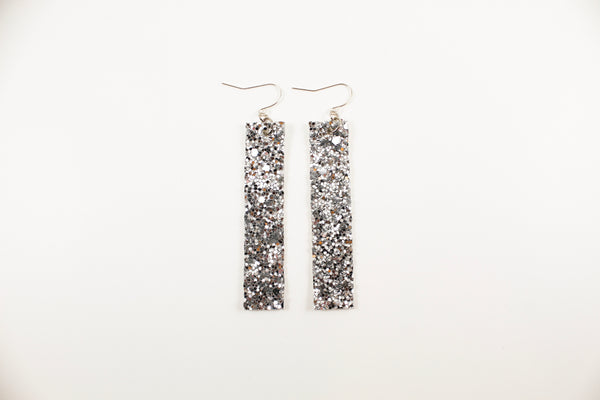 Silver Glitter Bar Earrings
