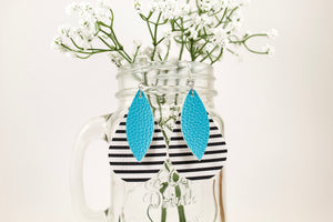 Stripes & Aqua Teardrop Earrings