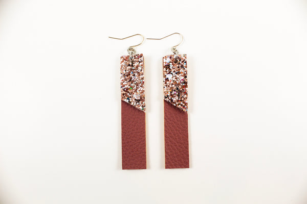 Mauve & Gold Glitter Bar Earrings