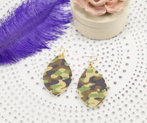 Camo Long Oval Leaf Earrings