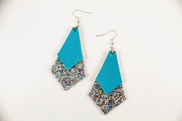 Aqua & Silver Glitter Long Diamond Earrings