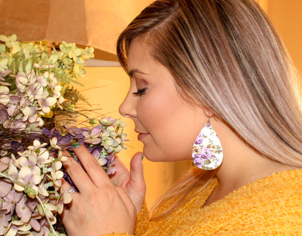 Purple/White Floral Teardrop Earrings