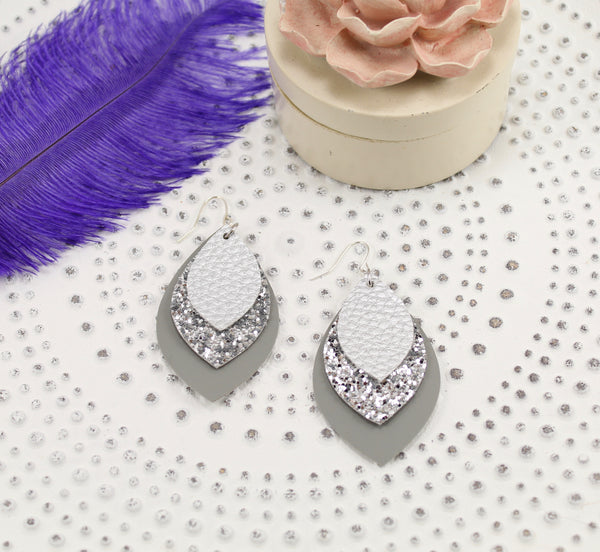 Silver, Silver Glitter & Grey Layered Earrings
