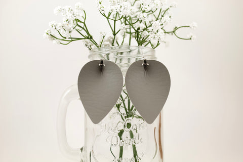 Grey Pinched Petal Earrings