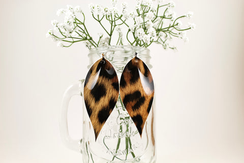 Leopard Pinched Feather Earrings