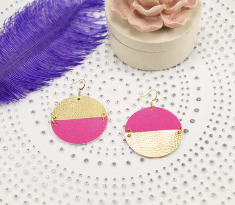 Hot Pink & Metallic Gold Mismatched Disc