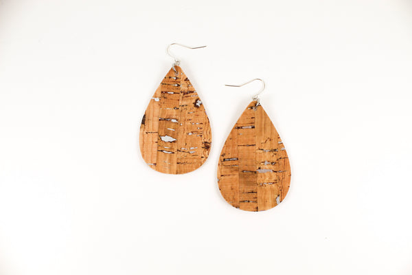 Silver Cork Teardrop Earrings
