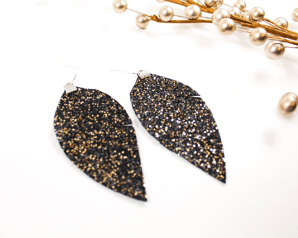 Black and Gold Shimmer Fringe Earrings