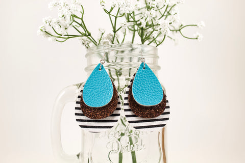 Aqua, Chocolate Shimmer & Stripes Teardrop Earrings
