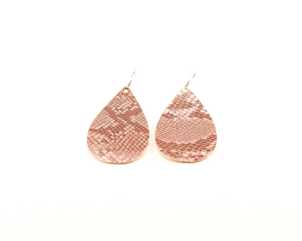 Stone Colored Snakeskin Teardrop Earrings