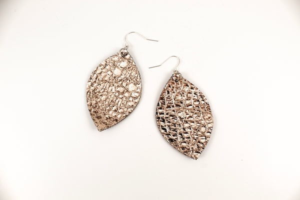 Crackle Mocha Oval Leaf Earrings