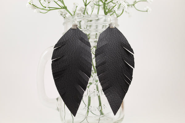 Black Fringe Feather Earrings