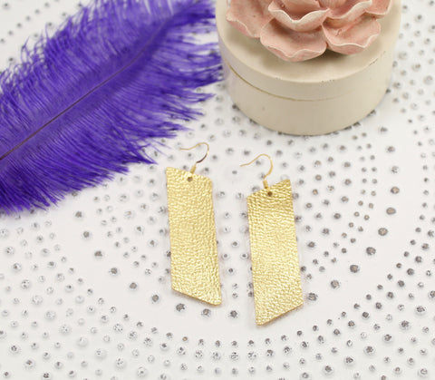 Metallic Gold Slanted Bar Earrings