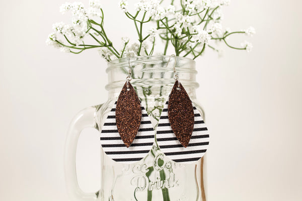 Stripes & Chocolate Shimmer Teardrop Earrings