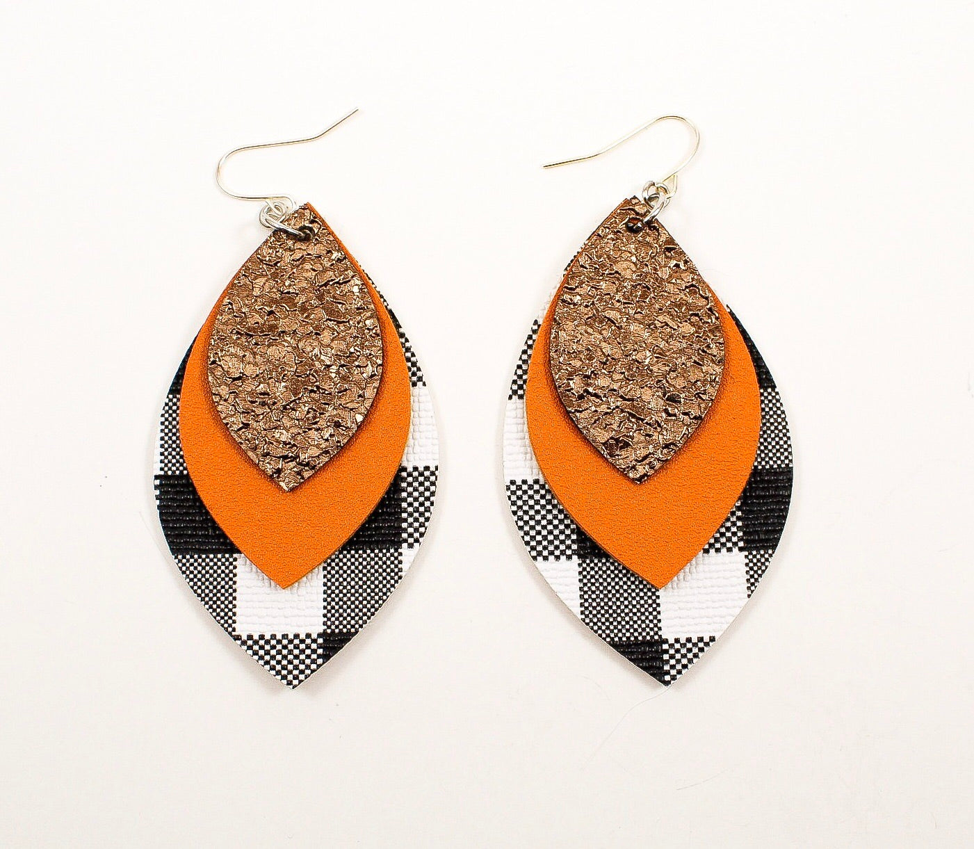 Druzy Brown, Pumpkin Orange & Plaid Leaf Earrings