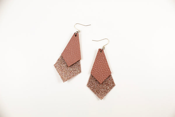 Rose Pink & Champagne Shimmer Long Diamond Earrings