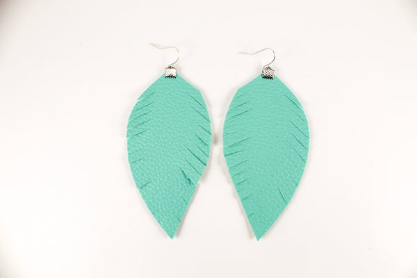 Turquoise Fringe Feather Earrings