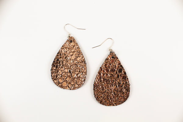 Crackle Rose Gold Teardrop Earrings