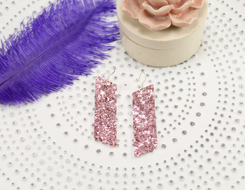 Dreamy Pink Glitter Slanted Bar Earrings