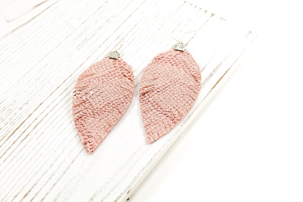 Rose Pink Shimmer Snakeskin Fringe Feather Earrings