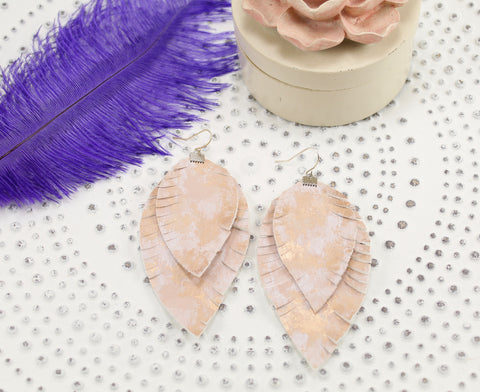 Rose Gold Marbled Layered Fringe Feather Earrings