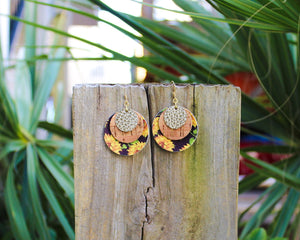 Sunflower, Cork & Gold Layered Disc Earrings