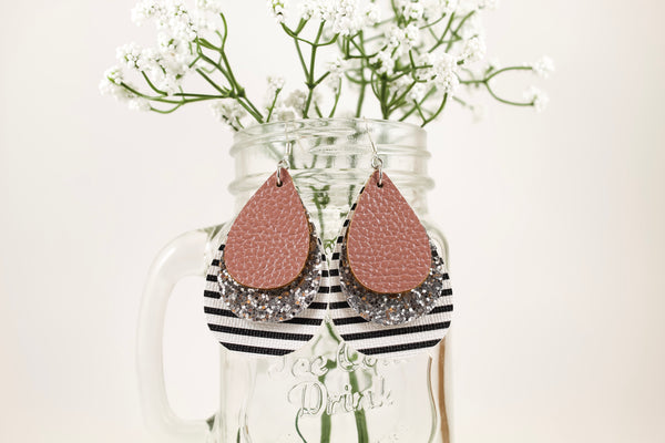 Rose Pink, Silver Glitter, & Stripes Teardrop Earrings