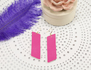 Hot Pink Slanted Bar Earrings
