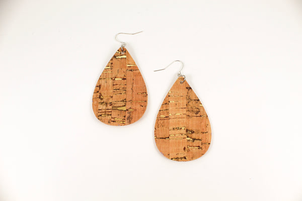 Gold Cork Teardrop Earrings