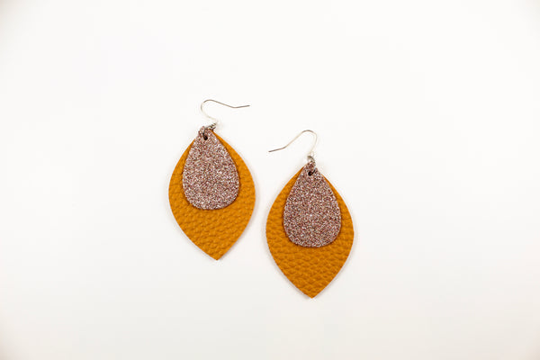 Mustard & Champagne Shimmer Oval Leaf Earrings