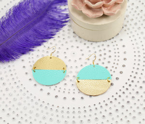 Turquoise & Metallic Gold Mismatched Discs