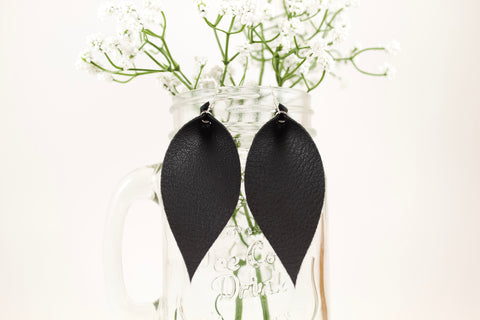 Black Pinched Feather Earrings