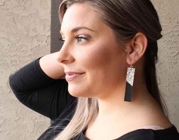 Black & Silver Druzy Bar Earrings