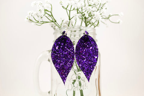 Purple Glitter Pinched Feather Earrings