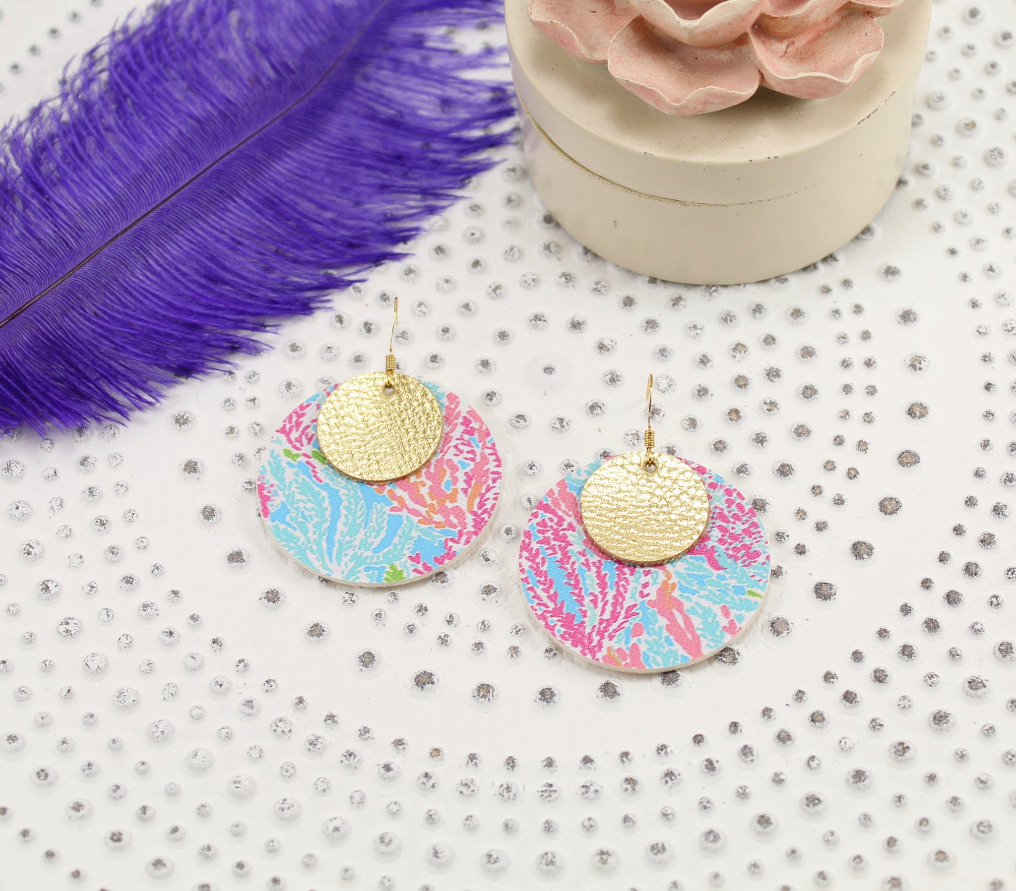 Multicolor Coral Lily Pulitzer Inspired + Metallic Gold Discs