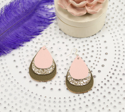 Blush Pink, Glitter Taupe, & Olive Layered Teardrop