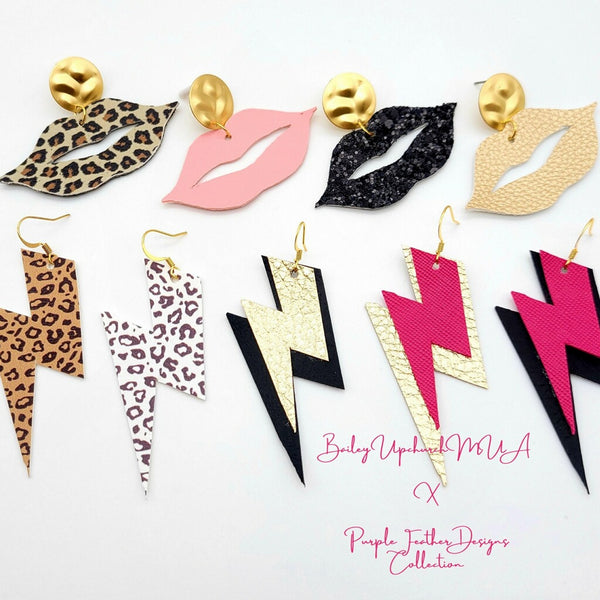 Gold Lip Earrings  on Gold Posts