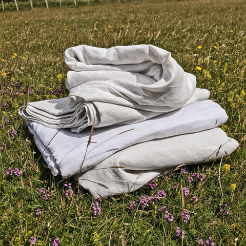 A stack of antique french linen