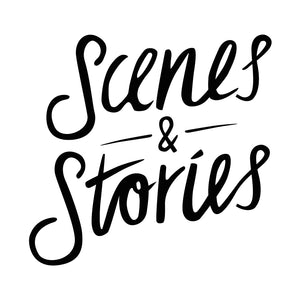 Scenes and Stories icon, black on white background