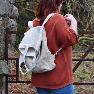 Oversized linen backpack