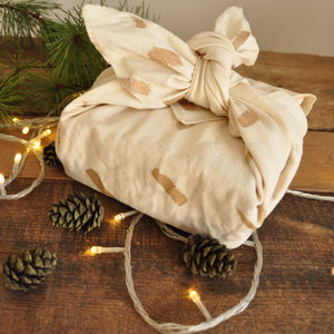 Furoshiki Fabric Gift Wrap, Gold Speckle print