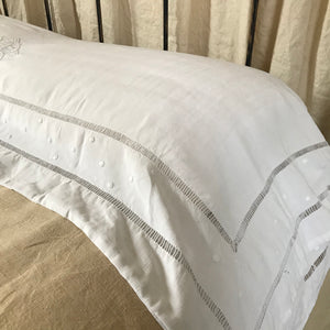 ELISE | Antique Embroidered Linen Bolster cover