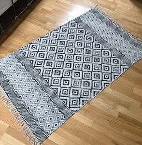 DHURRIE #1 | Handmade Block printed Indian Cotton Rug